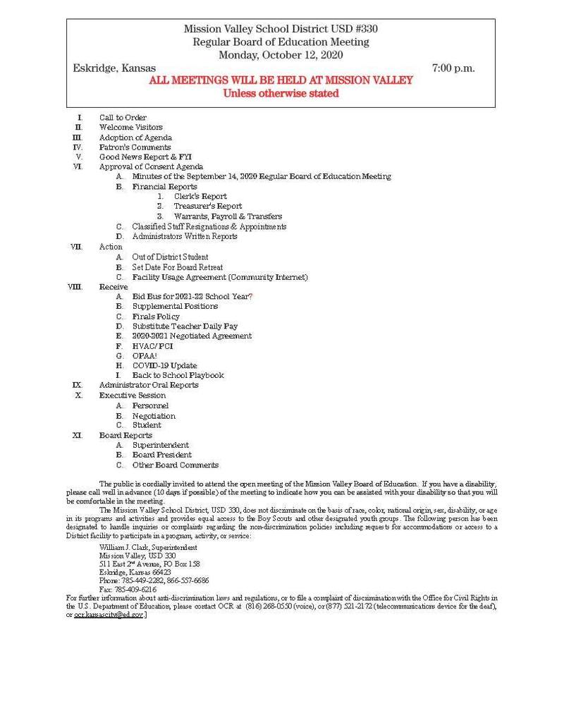 Board of Education meeting Agenda 10-12-2020