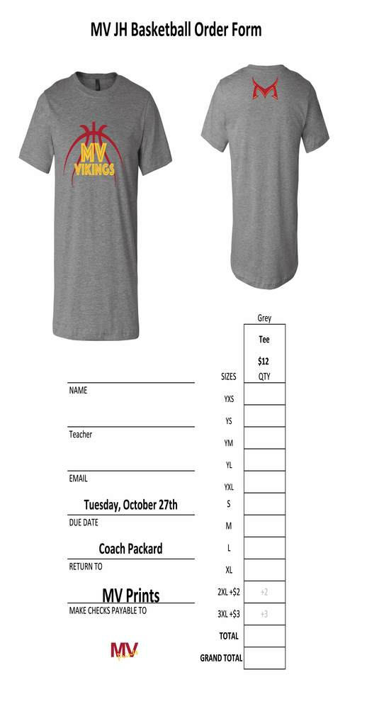 JH Girls BB shirt order form