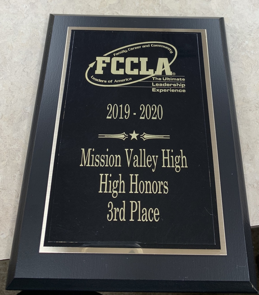 FCCLA 3rd Place High Honors Placque for Honors Chapter Application