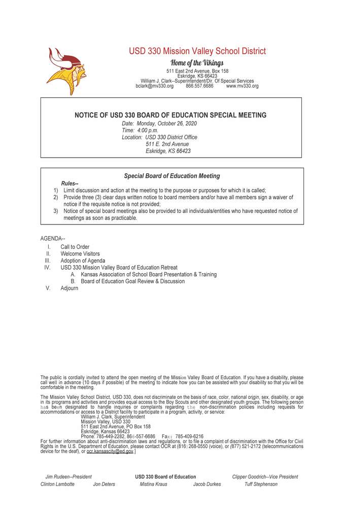 Special Bd Meeting Agenda for Oct. 26 @ 4:00 at the District Office