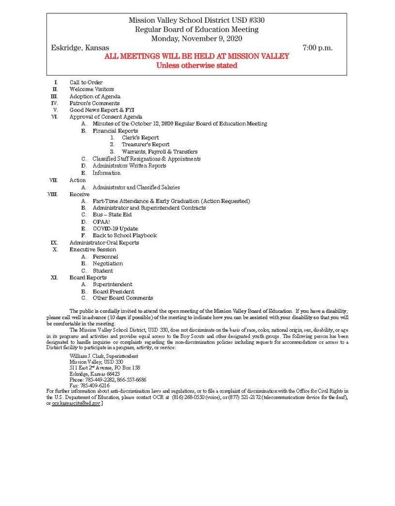 Nov. 9, 2020 Bd. of Ed meeting agenda