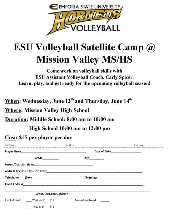 ESU/MV Volleyball Camp Registration