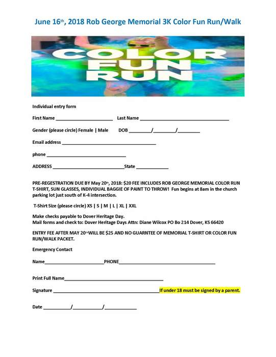 Rob George Memorial 3K Run Registration Form