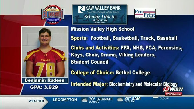 Ben Rudeen Kaw Valley Banks Scholar Athlete of the Week