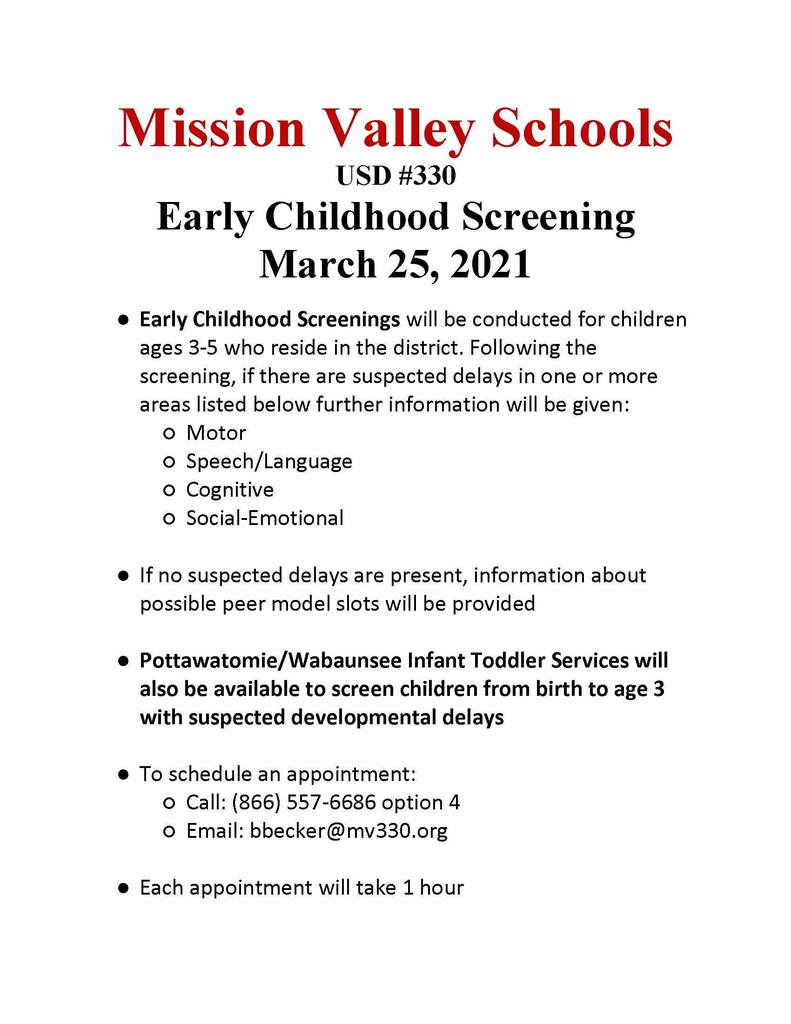 PreSchool Screening Flyer for March 25, 2021
