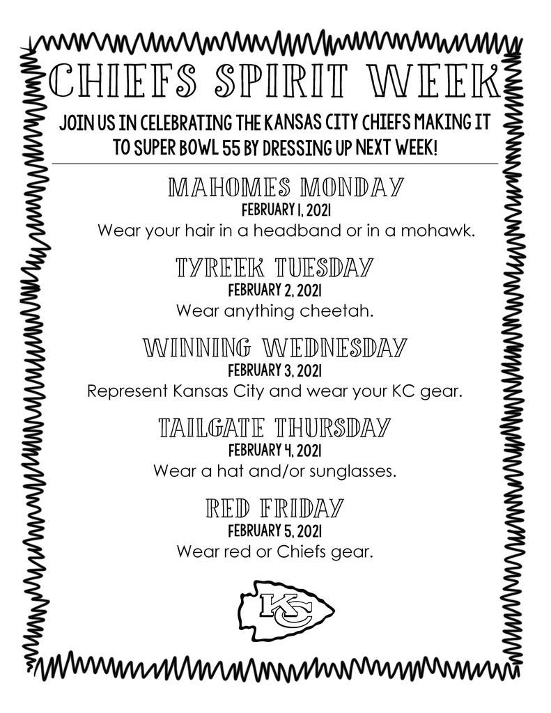 Chiefs Spirit Week 2/1-2/5
