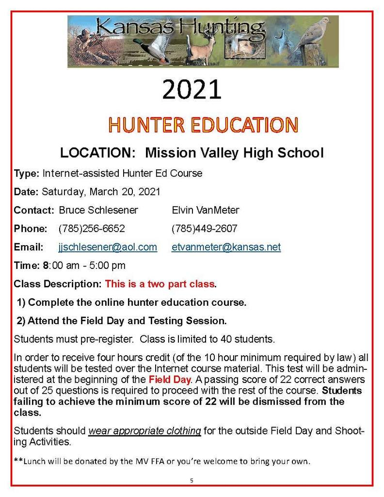 2021 Hunter Safety Class Flyer
