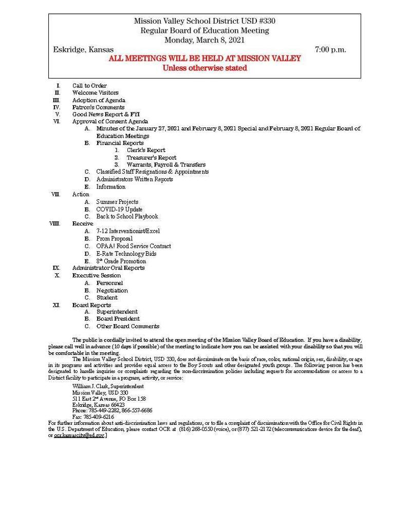 March 8, 2021 Bd. Of Ed meeting agenda