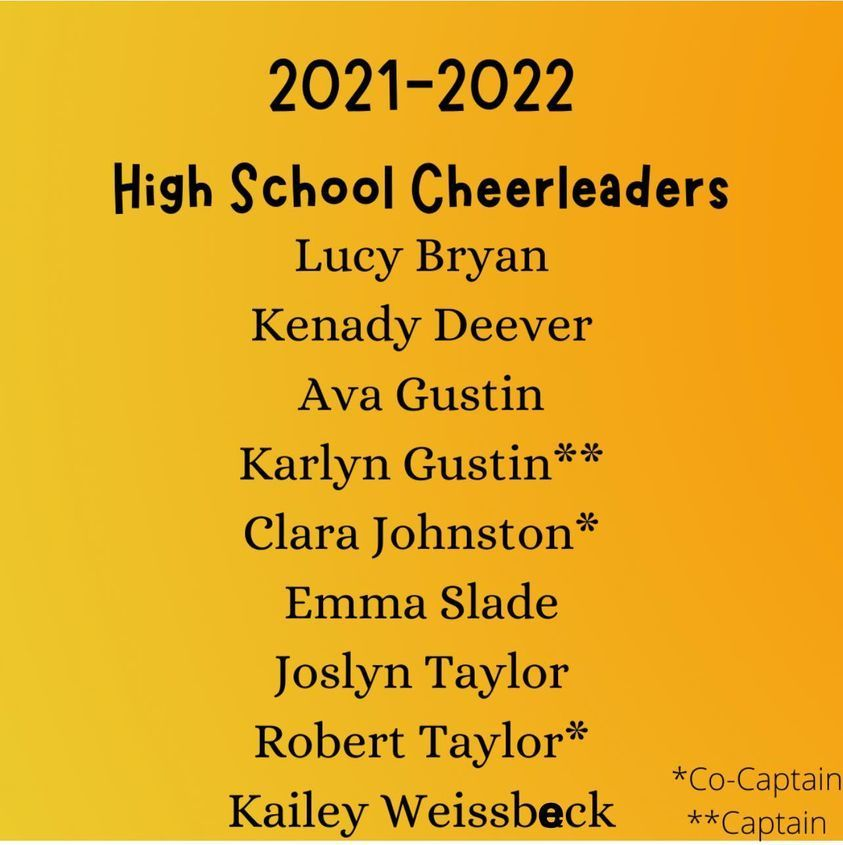 High School Cheer Team for 2021-22