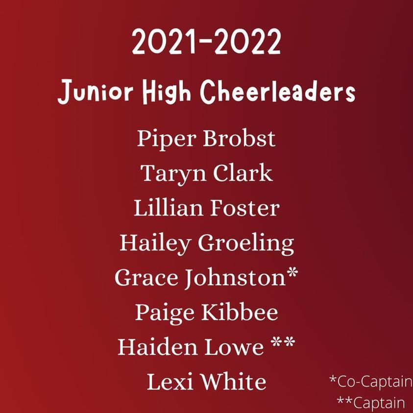 JH Cheer Team for 2021-22