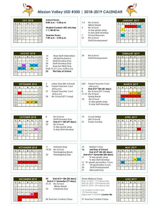 Revised School Calendar for 2018-19 (9/10/18)
