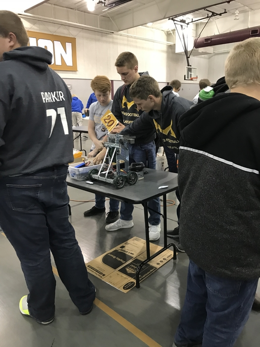High school checking out their robot