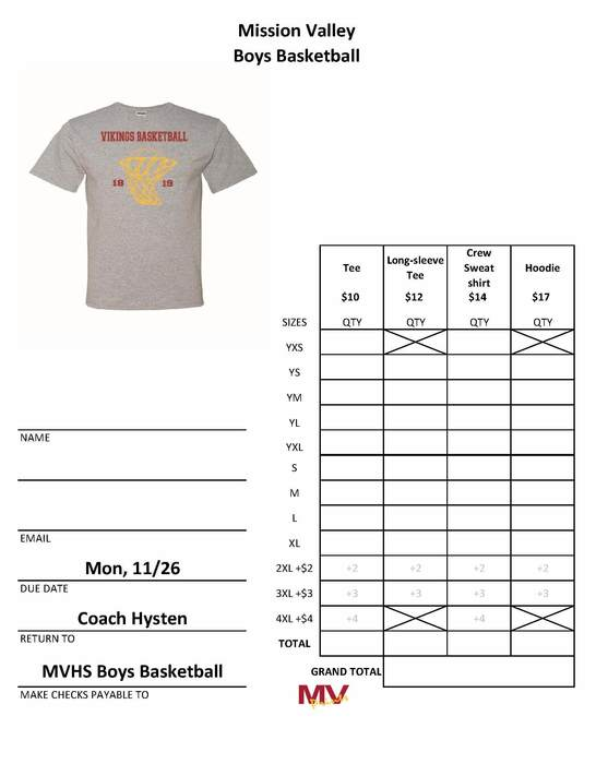 High School Boys Basketball Shirt Order Form