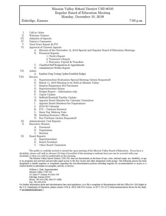 Board Meeting Agenda for December 10, 2018