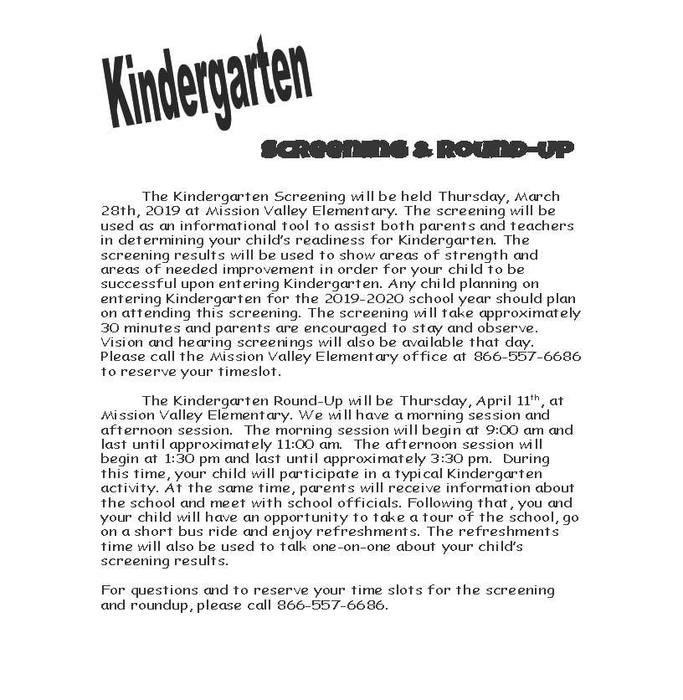 Kindergarten Screening Flyer 2019