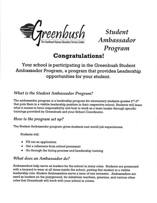 Page 1 describing the Student Ambassador program for grades 2-5