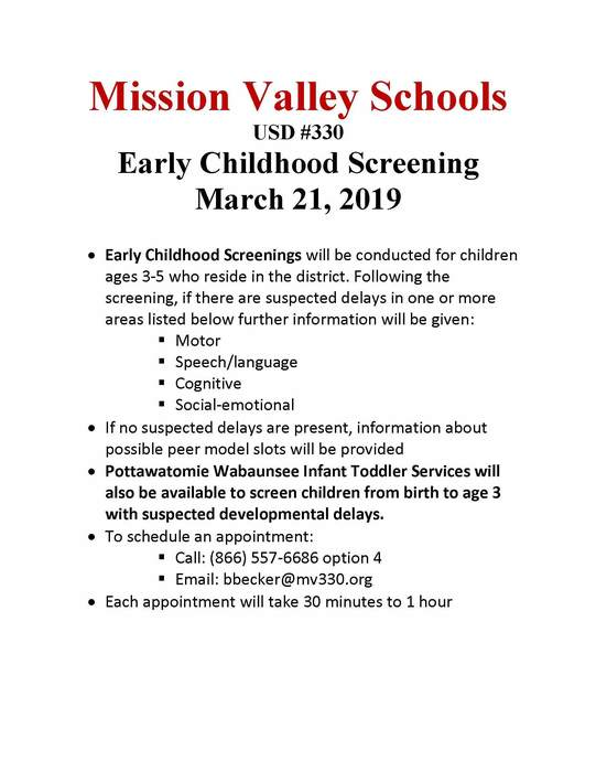 Early Childhood Screening Flyer for March 21, 2019