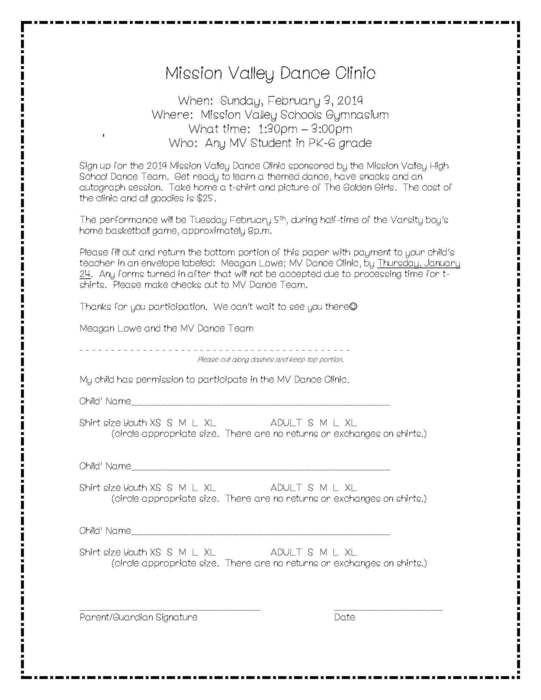 Elementary Dance Clinic Registration & Information Form