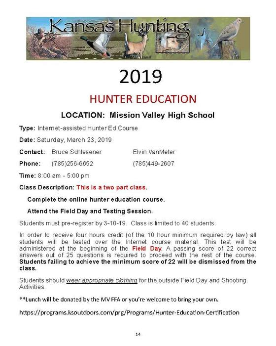 Hunter Education Flyer for March 23, 2019