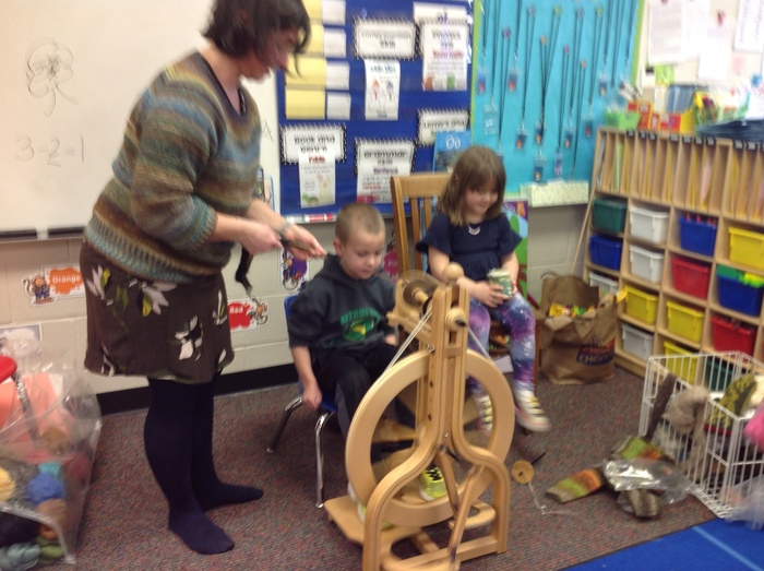 Students using the treadle