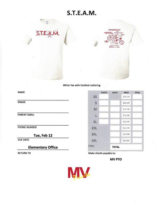 STEAM T-Shirt Order Form
