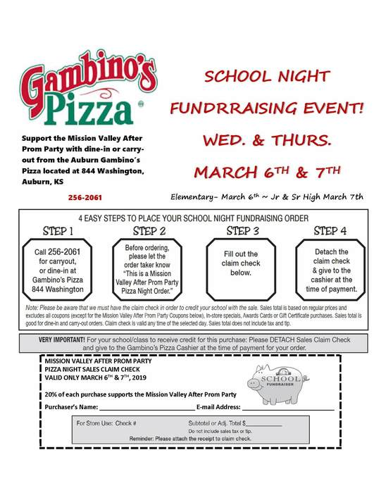 MV After Prom Fundraising Event at Gambinos Pizza