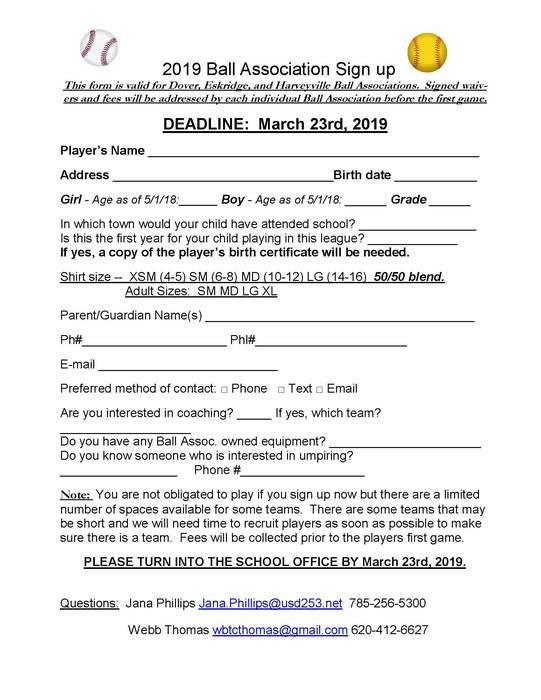 2019 Ball Association Registration Form
