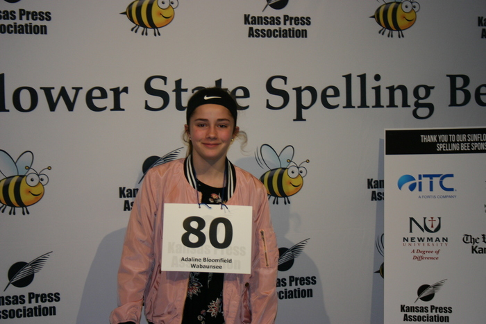 Adaline in the 2019 Sunflower State Spelling Bee