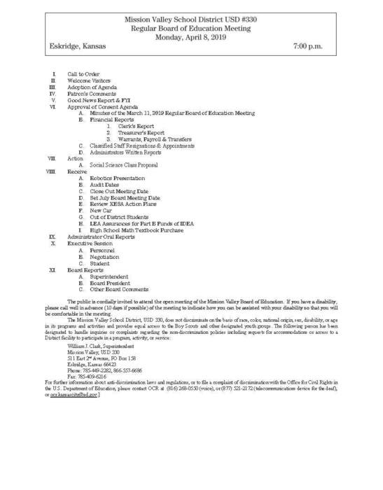 April 8, 2019 Board Meeting Agenda