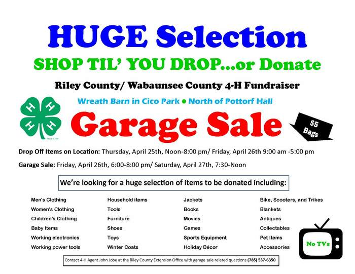 4-H Garage Sale Flyer