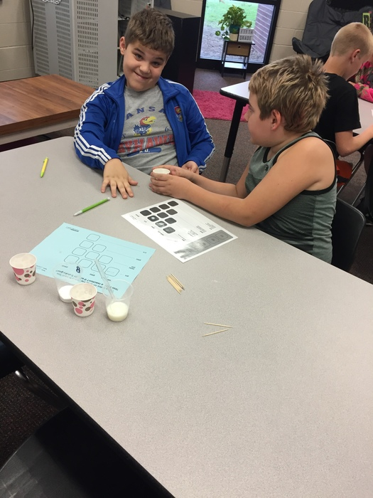 5th grade working on their chemical reactions