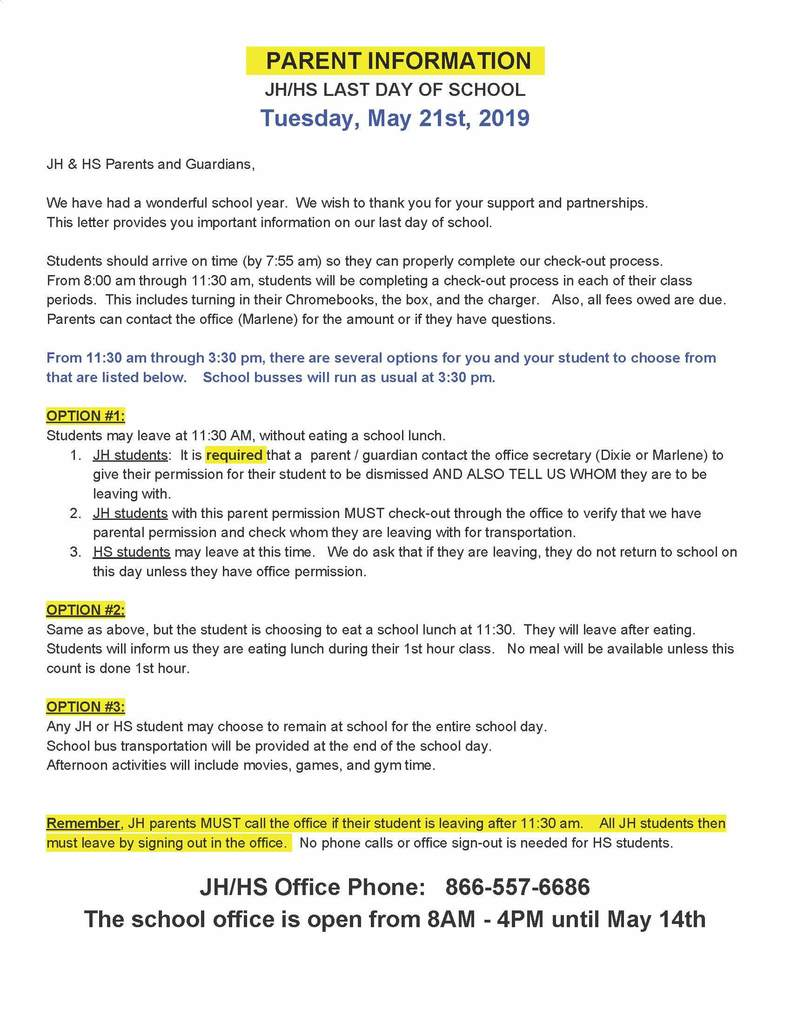 Last day of school parent letter for JH/HS students