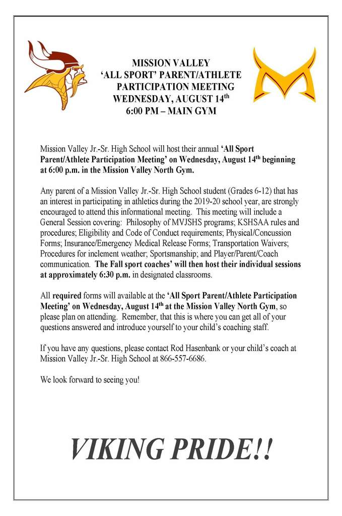 Parent/Athlete Fall Sports Meeting