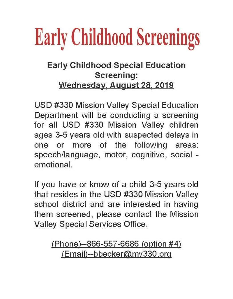 Early Childhood Screening Flyer