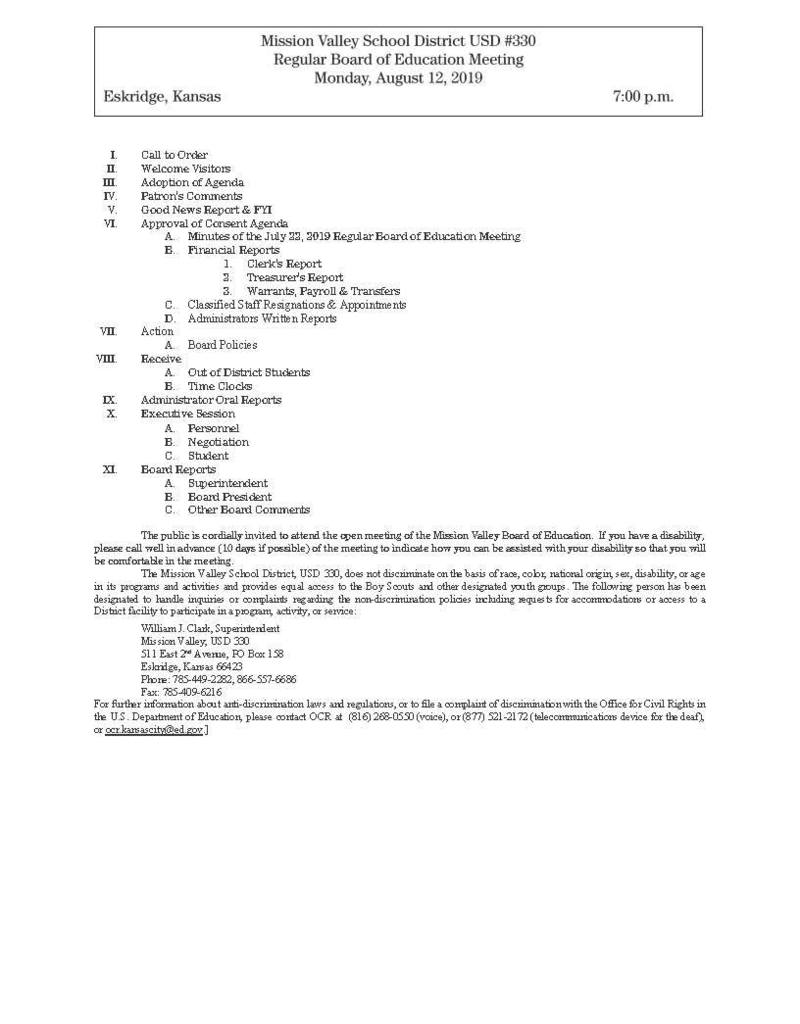 August 12th, Board Meeting Agenda