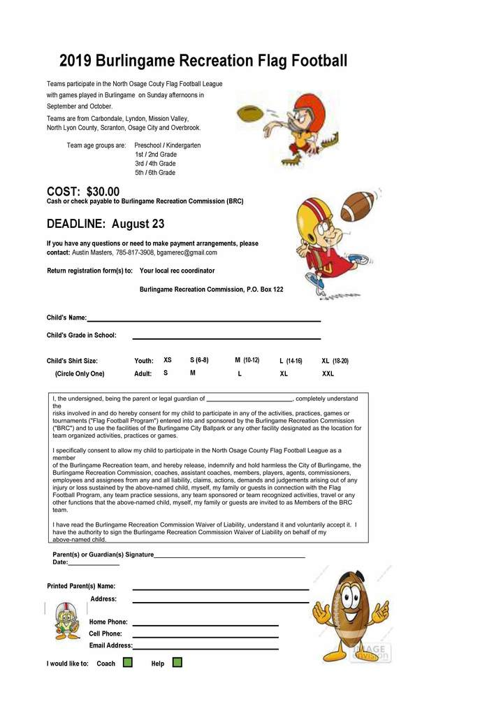 Burlingame Recreation Flag Football Registration Form