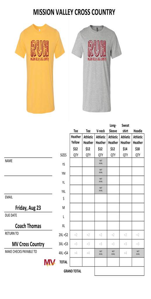 Cross Country Shirt Order Form