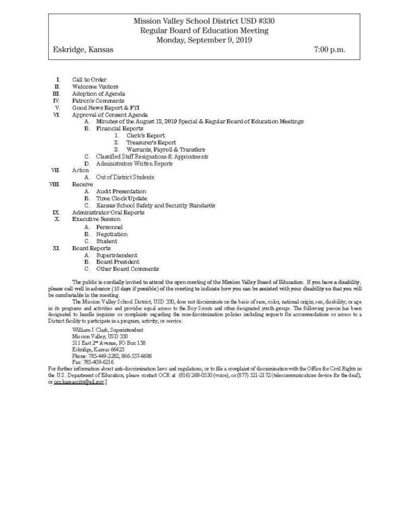 Sept. 9 Bd. Meeting Agenda