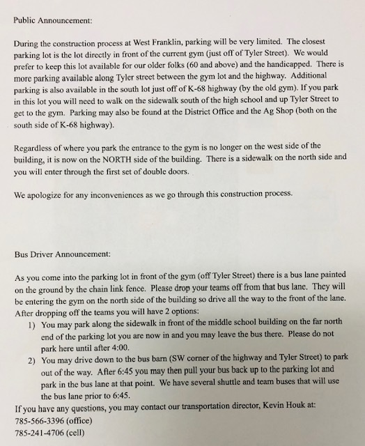 WF Parking Instructions