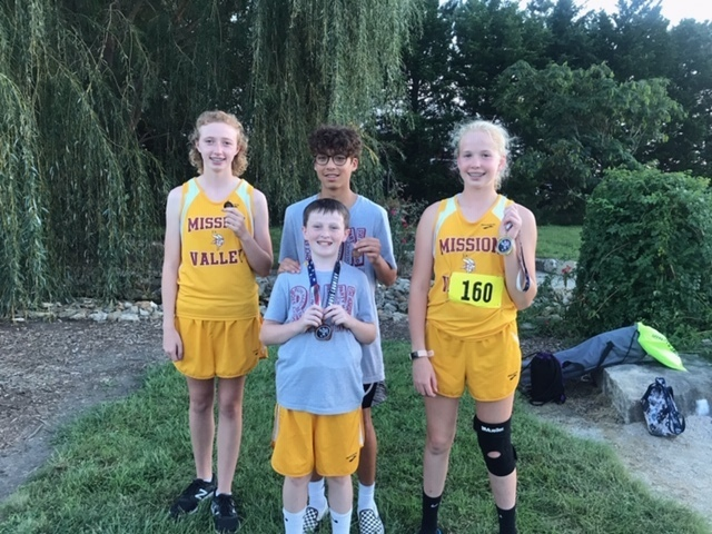 Medal winners from the Northern Heights Cross Country Meet
