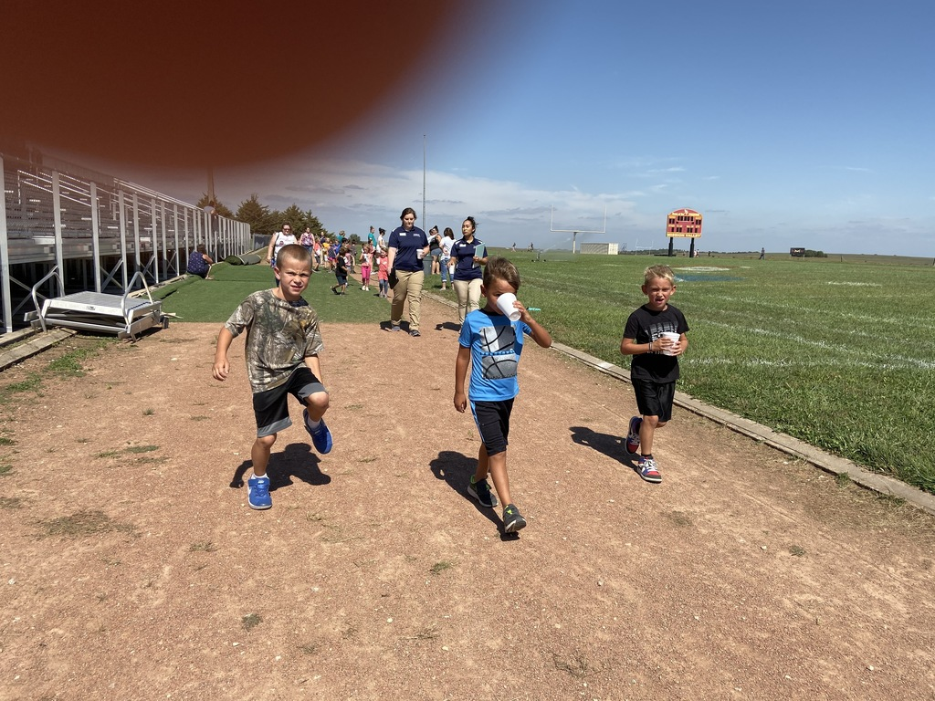 students in the walk-a-thon