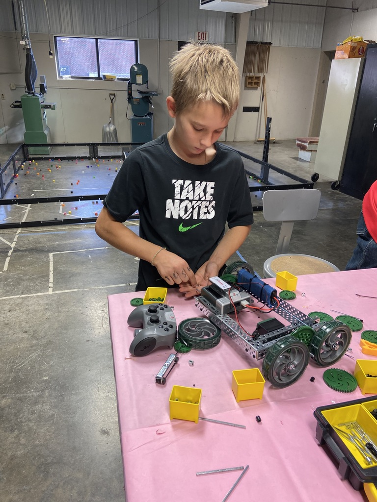 Troy working on his robot