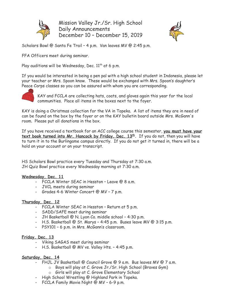 December 10-15, 2019 JH/HS Daily Announcements page 1