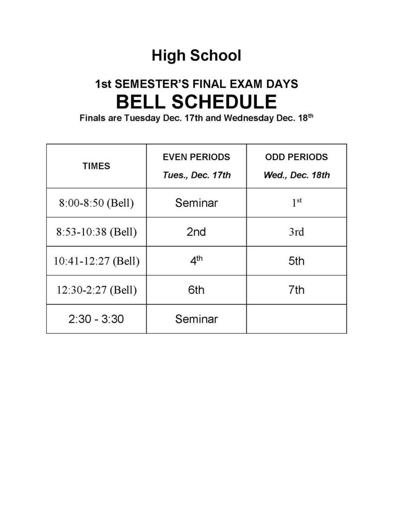 HS Finals schedule for Dec. 17 & 18, 2019