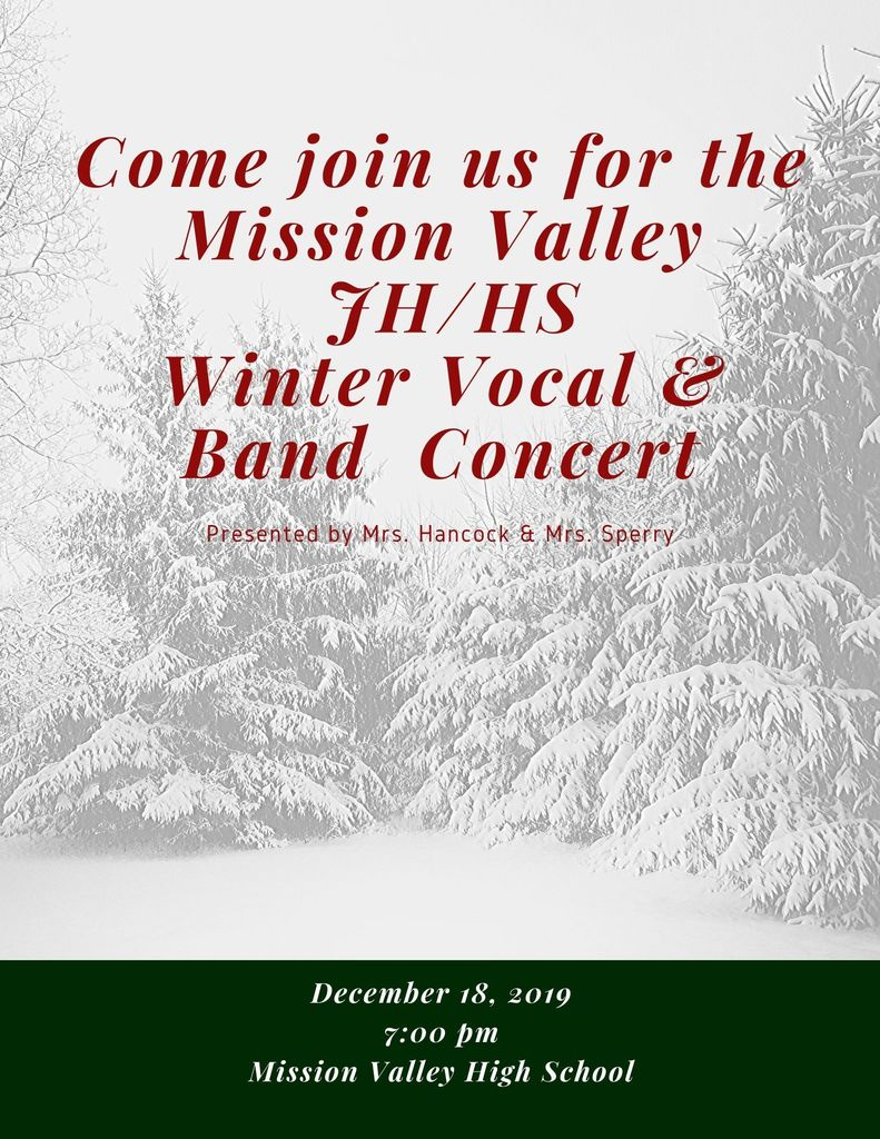 7-12 Winter Concert, December 18th @ 7:00 pm.