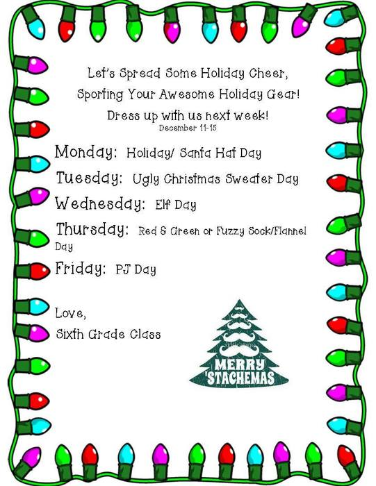 Elementary Christmas Spirit Week