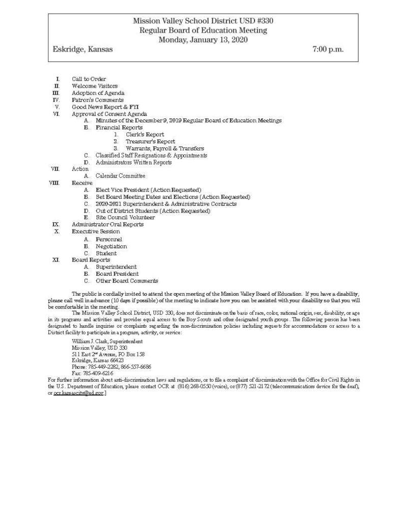 January 13, 2020 Board Meeting Agenda