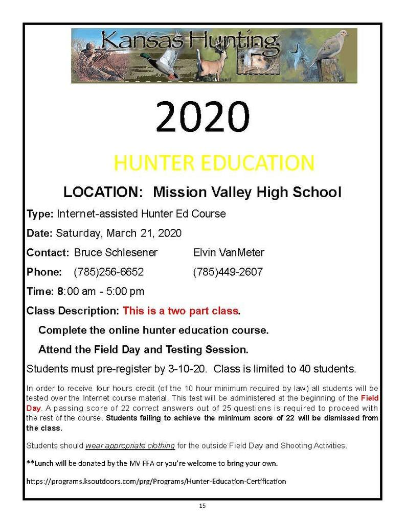 Hunter Safety Flyer for March 21, 2020