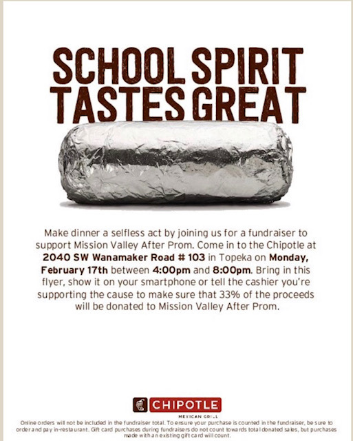 After Prom Chipotle fundraiser flyer for Feb. 17