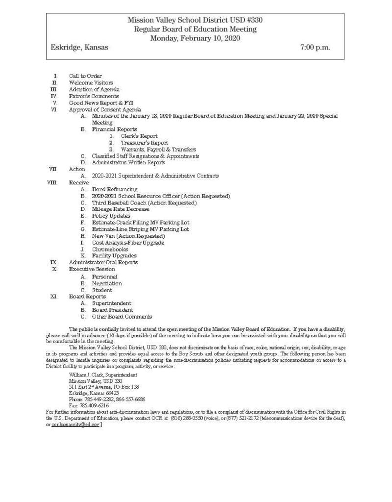 Feb. 10, 2020 Regular Board Meeting Agenda
